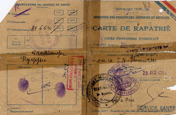Repatriation Pass for Guy S. who returned to France after liberation, France, 1945